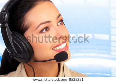 Smiling pretty business woman with headset.