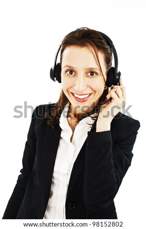 Smiling pretty business woman with headset. Isolated on white background. - stock photo