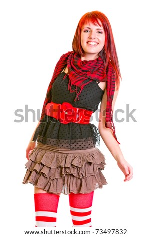 Smiling pretty teengirl cheerfully posing for photo isolated on white - stock photo