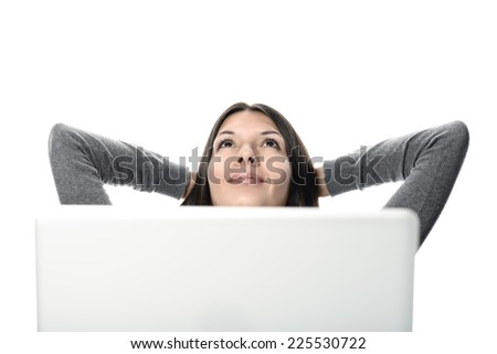 Smiling Pretty Woman Relaxing with Hands at the Back of Head While Looking Up, After Computer Works. Isolated on White Background.