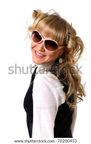 smiling pretty young businesswoman glance back, isolated on white