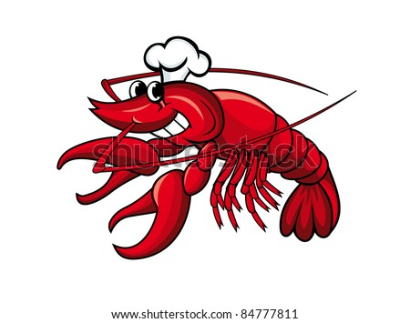 Smiling red crayfish or shrimp isolated on white, such a logo. Vector version also available in gallery - stock photo