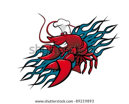 Smiling red prawn in cartoon style for tattoo design, such a logo. Vector version also available in gallery - stock photo