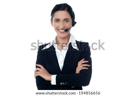 Smiling representative in headset offering help and support