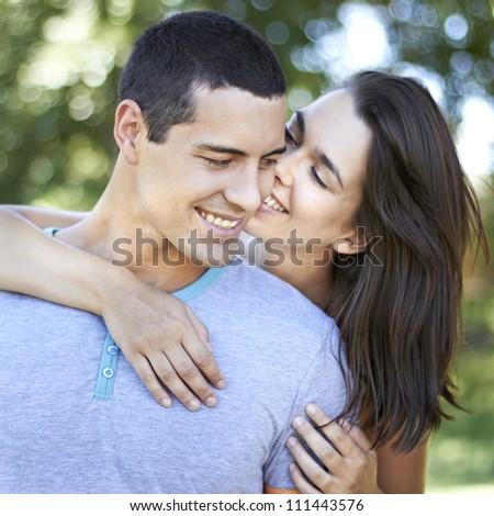 Smiling romantic couple - stock photo