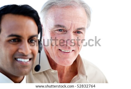 Smiling sales representative man with the boss against white background - stock photo