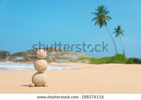 Smiling sandy happy man at ocean beach against blue sky and palms - travel concept - stock photo