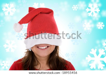 smiling santa woman in red with blue background made of snowflakes - stock photo