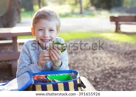 smiling schoolboy enjoying recess and healthy lunch