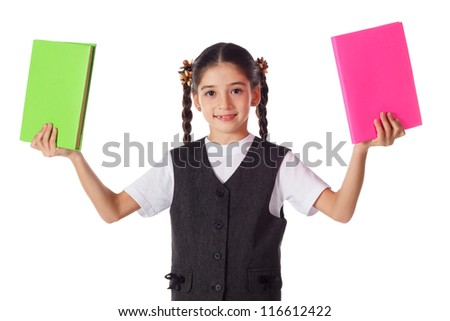 Smiling schoolgirl standing with two blank color books in hands, isolated on white - stock photo