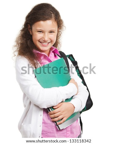 Smiling schoolgirl with backpack isolated on white