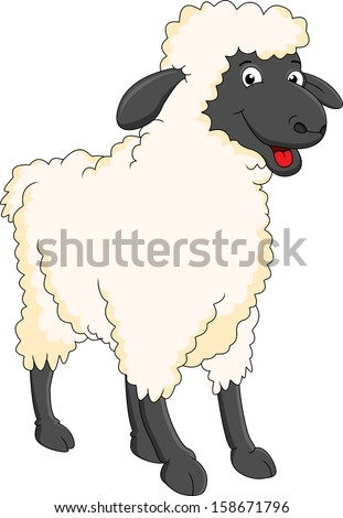 smiling sheep cartoon - stock photo
