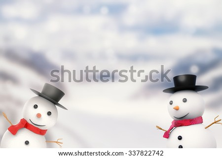 smiling snowman 3d rendered on snow mountain background