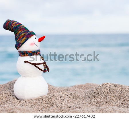 Smiling snowman on the sea beach. Summer holidays or New Year concept - stock photo