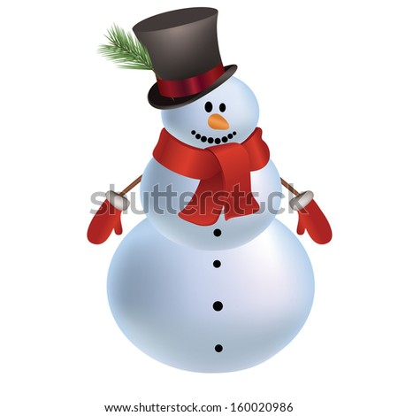 smiling snowman with a red scarf and hat. isolated on a white background.  illustration.  - stock photo