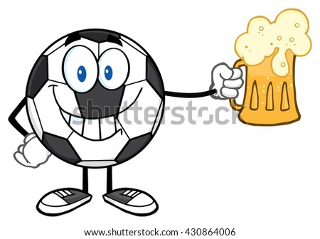 Smiling Soccer Ball Cartoon Mascot Character Holding A Beer Glass. Raster Illustration Isolated On White Background - stock photo