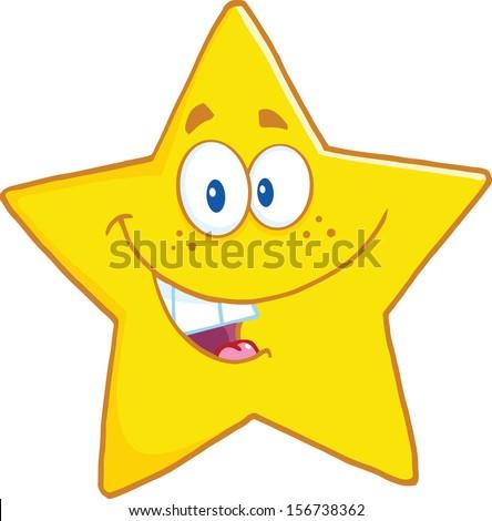 Smiling Star Cartoon Mascot Character. Raster Illustration - stock photo