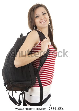smiling student girl with black backpack, white background - stock photo