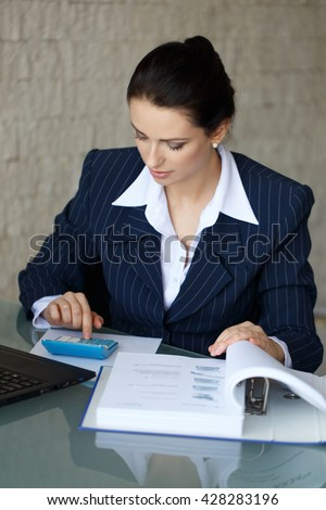 Smiling stylish businesswoman sitting at her desk using a calculator and completing an analysis sheet or journal - stock photo