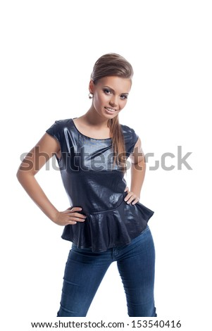Smiling stylishly dressed model isolated on white - stock photo