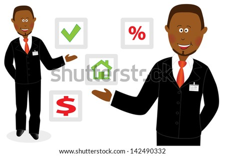 Smiling success cartoon businessman offers right choice - stock photo