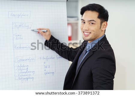 Smiling successful young Asian businessman doing a presentation standing writing with a marker pen on a flip chart - stock photo