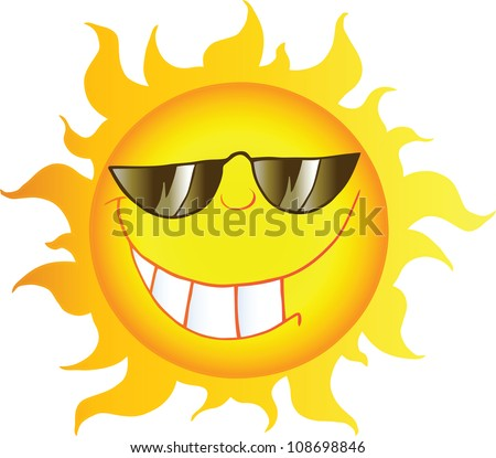 Smiling Sun Cartoon Character With Sunglasses. Raster Illustration.Vector version also available in portfolio. - stock photo