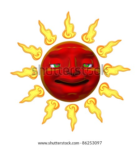 Smiling sun illustration 3d isolated on a white background
