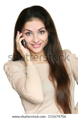 Smiling surprising woman talking on mobile phone isolated on white background. Closeup portrait of business white young woman listening the news - stock photo