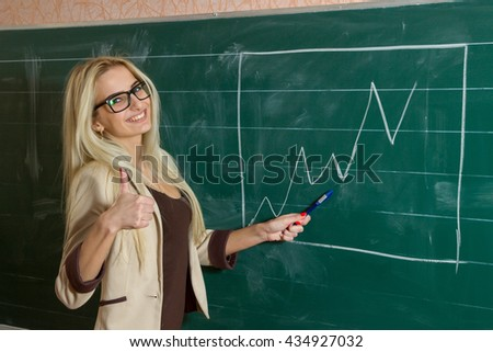 Smiling teacher is showing her thumb up pointing the graph