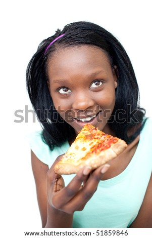 Smiling teen girl eating a pizza aganst a white background - stock photo