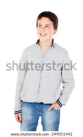 Smiling teenage boy of thirteen isolated on white background - stock photo
