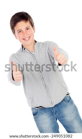 Smiling teenage boy of thirteen saying Ok isolated on white background - stock photo