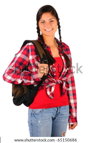 Smiling teenage girl wearing a red plaid shirt, and jeans with a  backpack slung over one shoulder. Vertical format isolated on white.