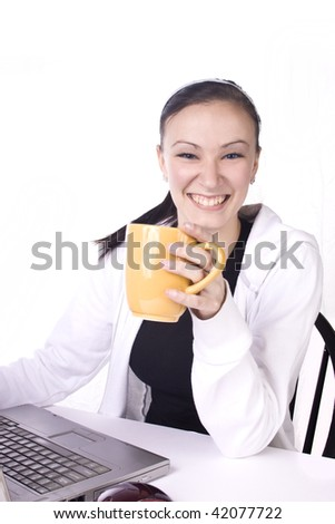 Smiling Teenager with a Cup of Coffee Working - Isolated Background