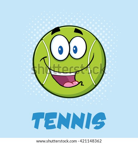 Smiling Tennis Ball Cartoon Character. Raster Illustration Poster With Text And Background - stock photo