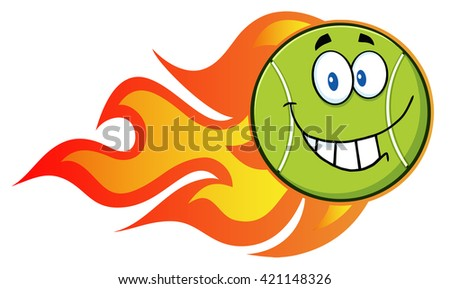 Smiling Tennis Ball Cartoon Character With A Trail Of Flames. Raster Illustration Isolated On White