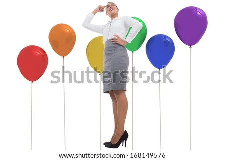 Smiling thoughtful businesswoman against colourful balloons
