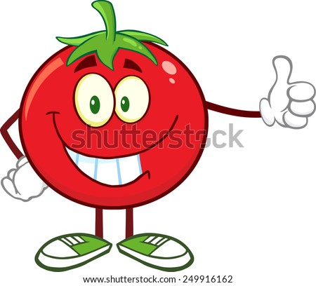Smiling Tomato Cartoon Mascot Character Giving A Thumb Up. Raster Illustration Isolated On White - stock photo