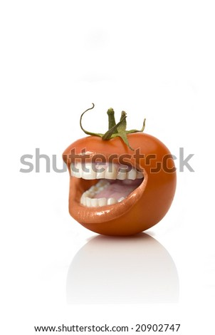 SMILING tomato OVER WHITE BACKGROUND - stock photo