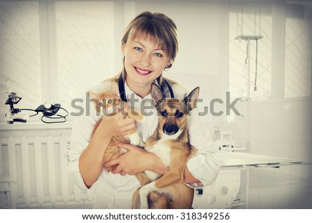 smiling vet and puppy and kitten in clinic, instagram - stock photo