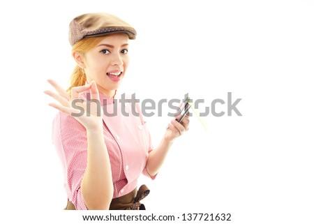 Smiling waitress - stock photo