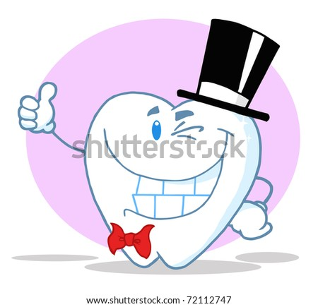 Smiling Winking Gentleman Tooth - stock photo