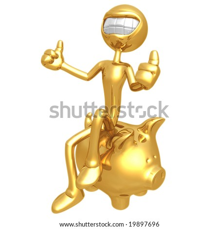 Smiling With Bank - stock photo