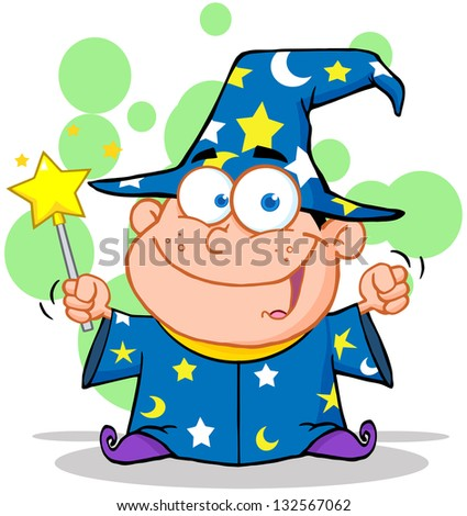 Smiling Wizard Boy Waving With Magic Wand. Raster Illustration.Vector Version Also Available In Portfolio. - stock photo