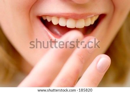 Smiling Woman and honey on the lips