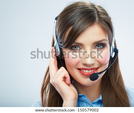 Smiling woman call center operator touching headsed. Close up business woman portrait. Female model. - stock photo