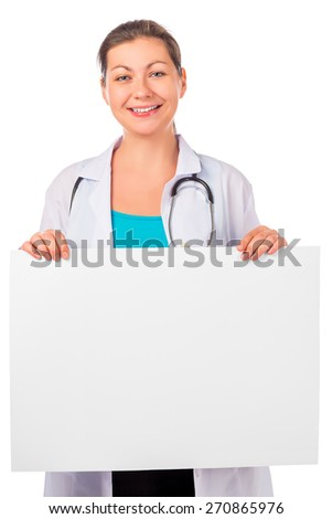 Smiling woman doctor with a poster on a white background