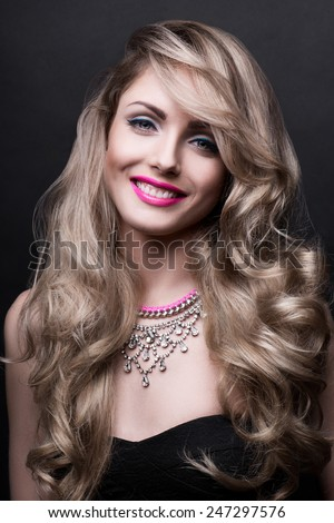 Smiling woman face beauty portrait - stock photo