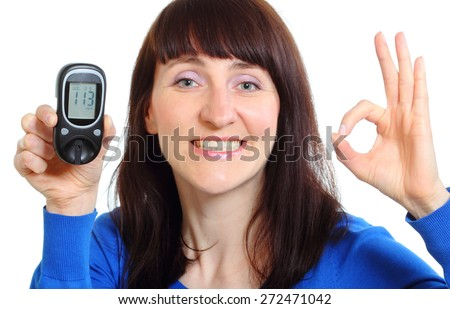 Smiling woman holding glucose meter, measuring sugar level, concept for diabetes. Isolated on white background - stock photo